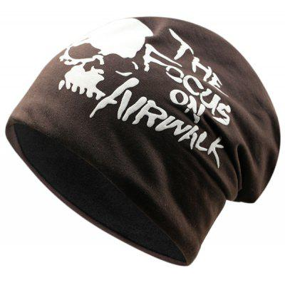 Outdoor Skull and Letter Pattern Two Layers Lightweight Beanie