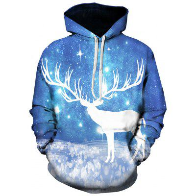 3D Caribou Galaxy Print Pullover Hoodie