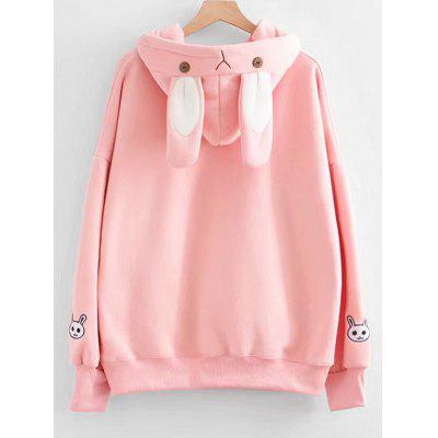 Contrast Ribbon Rabbit Patches Hoodie