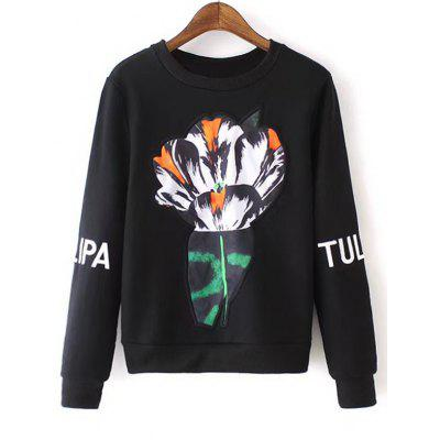 Embroidered Sleeve Floral Sweatshirt
