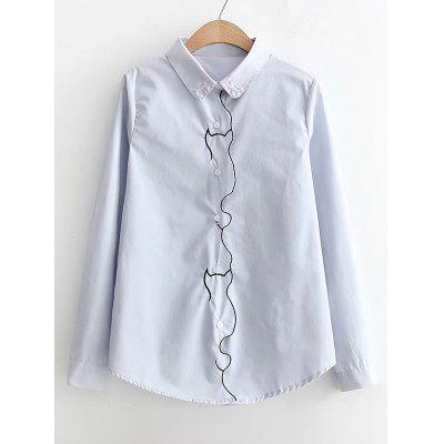 Embroidered Piped Button Down Shirt