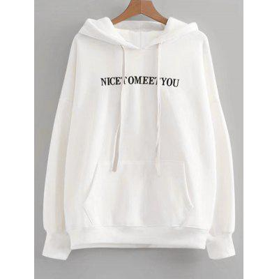 Letter Embroidered Oversized Drawstring Hoodie