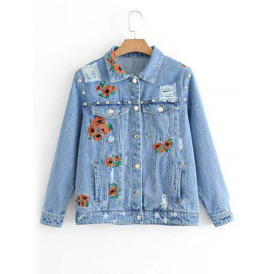 Floral Embroidered Ripped Button Up Jean Jacket