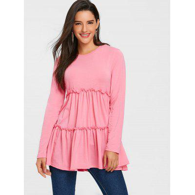 Ruffle Tunic Long Sleeve TopBlouses<br>Ruffle Tunic Long Sleeve Top<br><br>Collar: Round Neck<br>Embellishment: Ruffles<br>Material: Polyester, Spandex<br>Package Contents: 1 x Top<br>Pattern Type: Solid Color<br>Season: Winter, Spring, Fall<br>Shirt Length: Long<br>Sleeve Length: Full<br>Style: Fashion<br>Weight: 0.4500kg