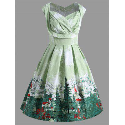 Christmas Vintage Ruched Forest Print Plus Size Dress