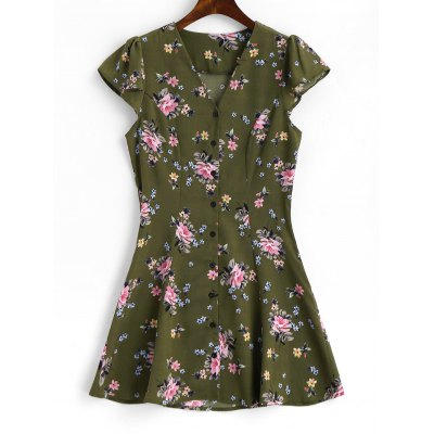 Button Up Cap Sleeve Floral Mini Dress