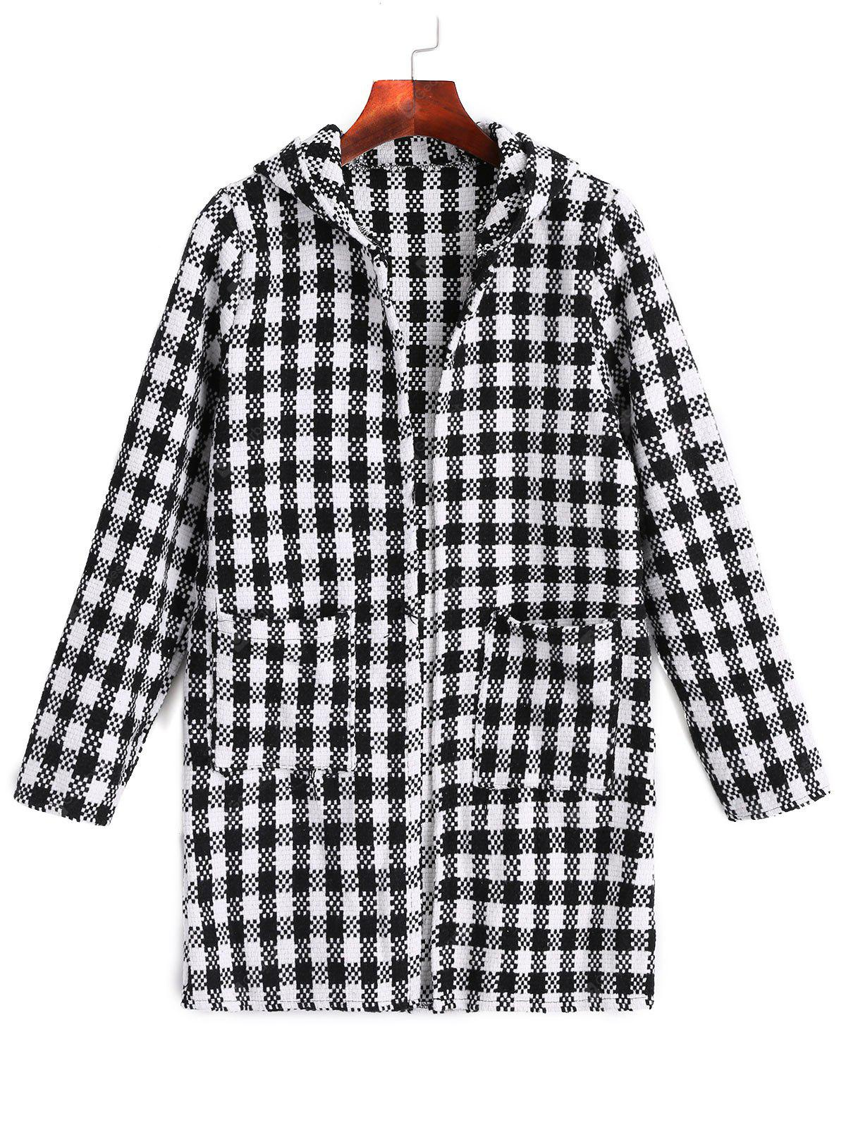 Checked Open Front Hooded Coat