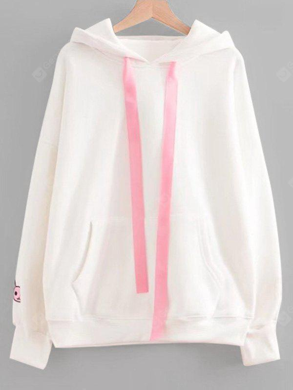 Contraste Ribbon Rabbit Patches Hoodie