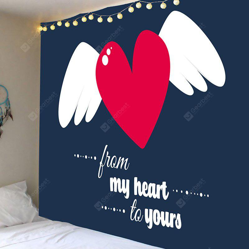 Valentine's Day Heart and Wing Pattern Wall Tapestry