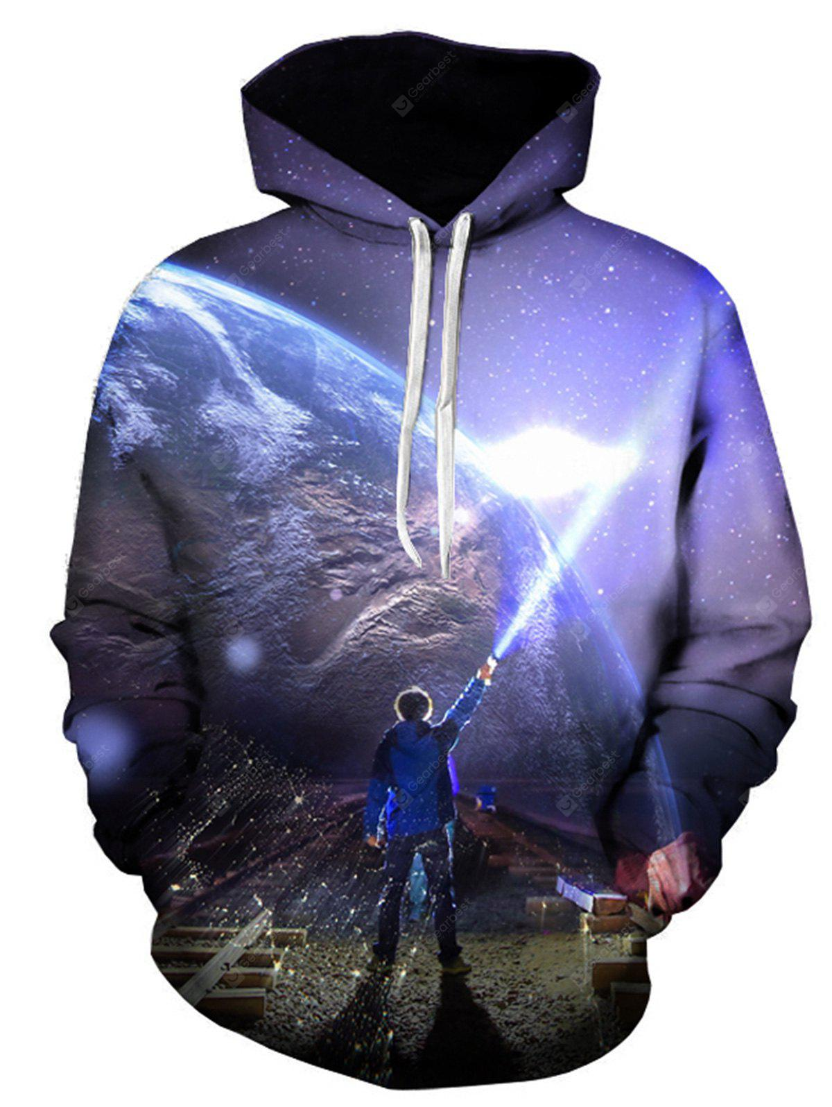 3D Earth Figure Print Pullover Hoodie, COLORMIX, 4XL, Apparel, Men's Clothing, Men's Hoodies & Sweatshirts