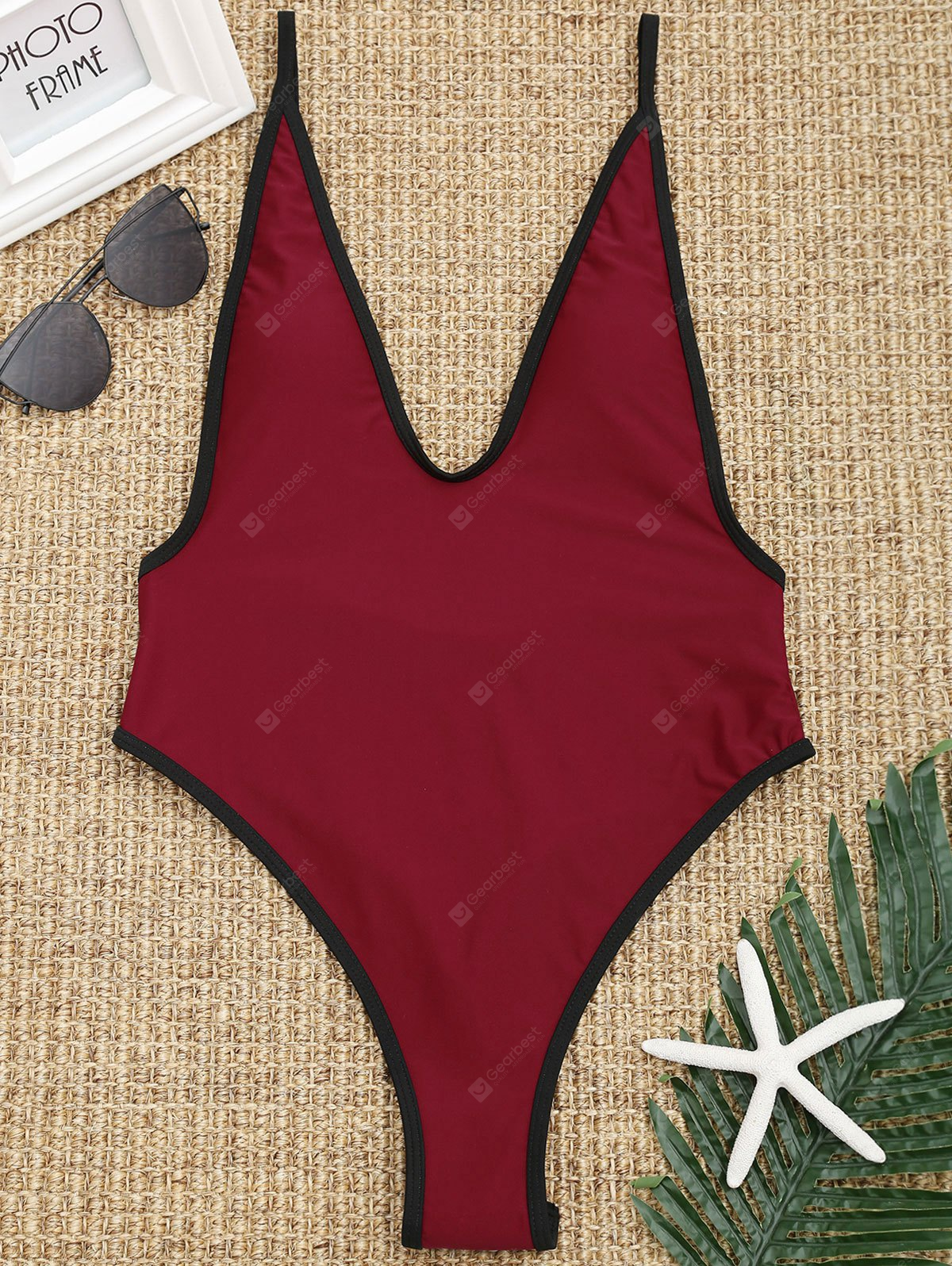 Contrast Trim High Cut Thong Swimsuit
