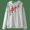 Floral Embroidered Drawstring Loose Hoodie - GRAY