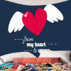Valentine's Day Heart and Wing Pattern Wall Tapestry - CADETBLUE