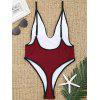 Contrast Trim High Cut Thong Swimsuit - WINE RED