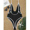 Contrast Trim High Cut Thong Swimsuit - BLACK