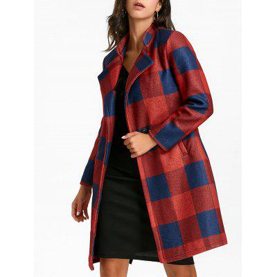 Lapel Collar Longline Plaid Coat