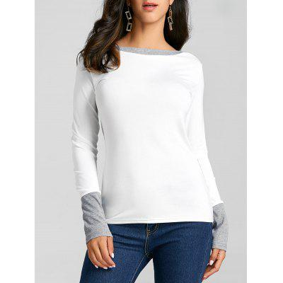 Two Tone Color Boat Neck Knit Top