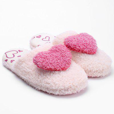 Colorblocked Sweet Heart Furry Slippers