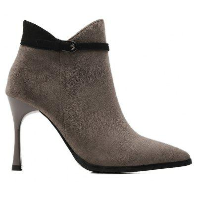 Side Zip Buckle Strap High Heel Ankle Boots