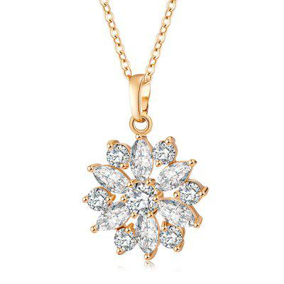 Faux Diamond Flower Pendant Necklace