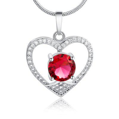 Fake Diamond Hollow Out Heart Pendant Necklace