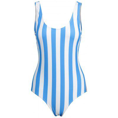 Plus Size Stripe Backless Swimsuit