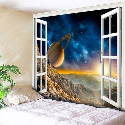 3D Planet Window Scenery Impreso Tapiz colgante de pared