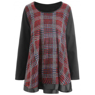 Plus Size Plaid Ruffle Top
