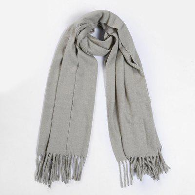 Outdoor Faux Wool Fringed Long Scarf