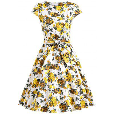 Retro Floral Fit and Flare Swing Dress