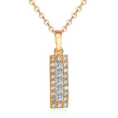 Rhinestone Rectangle Collarbone Pendant Necklace