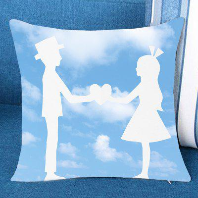 Blue Sky and Lover Pattern Pillow Case
