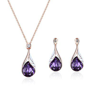 Buy PURPLE Faux Crystal Water Drop Pendant Necklace with Earrings for $6.58 in GearBest store