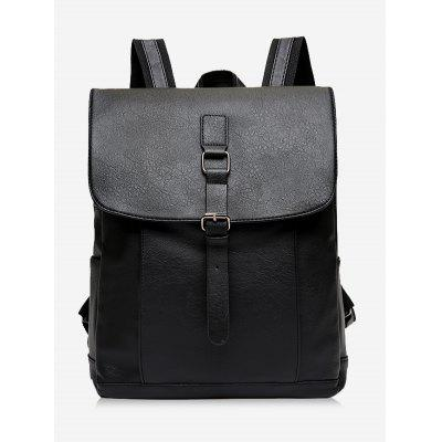 Buckle Strap Faux Leather Backpack