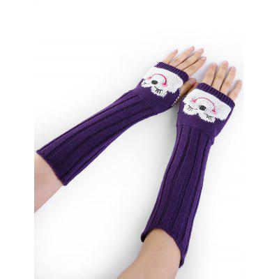 Cute Cartoon Pattern Embellished Knitted Fingerless Arm Warmers