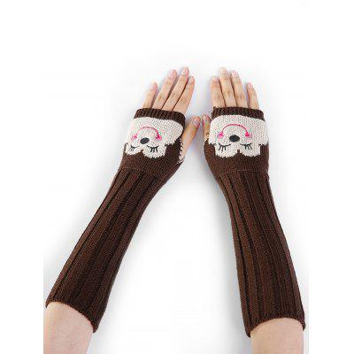 Buy COFFEE Cute Cartoon Pattern Embellished Knitted Fingerless Arm Warmers for $4.92 in GearBest store