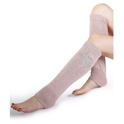 Rose Embroidery Color Splice Crochet Knitted Leg Warmers