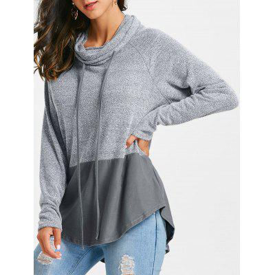 Raglan Sleeve Asymmetrical Hoodie with Panel