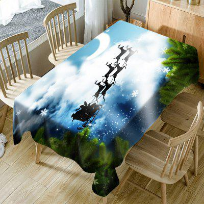 Christmas Elk Flying to the Moon Fabric Table Cloth
