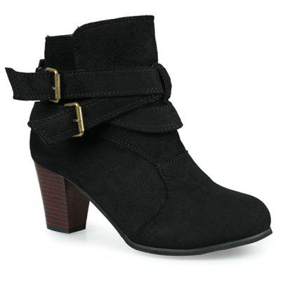 Round Toe Buckle Strap Faux Suede Ankle Boots