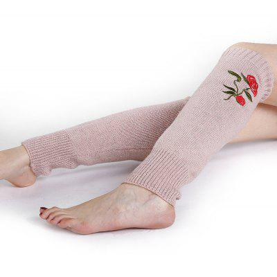 Vintage Rose Embroidery Color Splice Knitted Leg Warmers