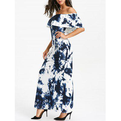 Tie Dye Ruffled Off The Shoulder Maxi Dress
