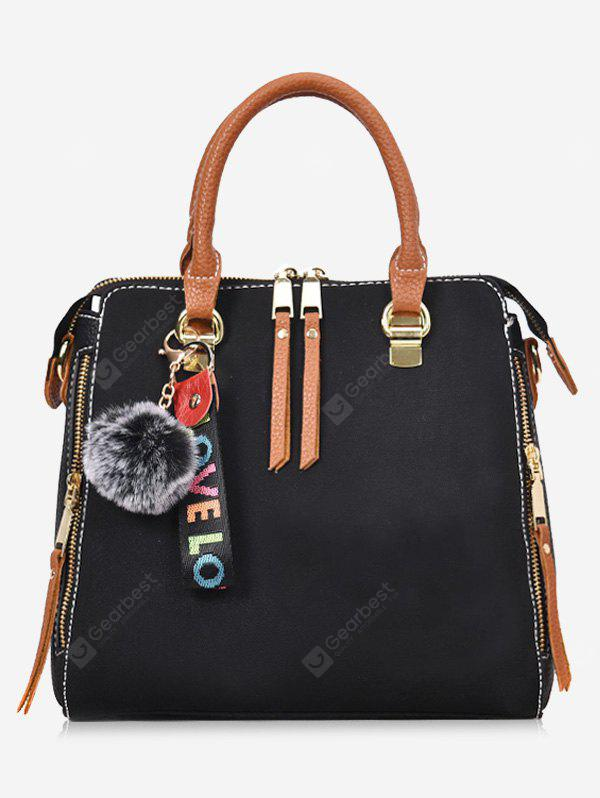 Письмо Pompom Zip Faux Leather Handbag