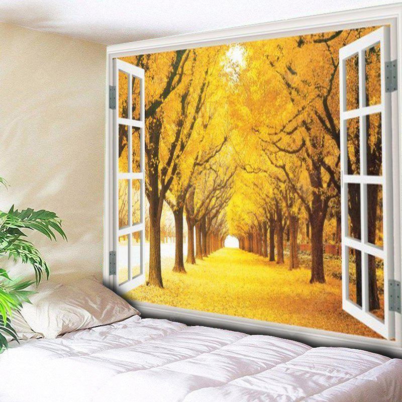 Window Scenery Trees Printed Wall Hanging Tapestry
