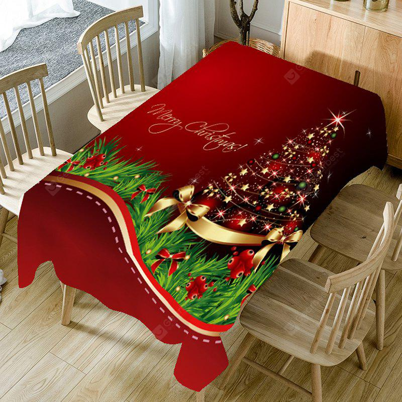 Christmas Tree Decorative Baubles Print Table Cloth