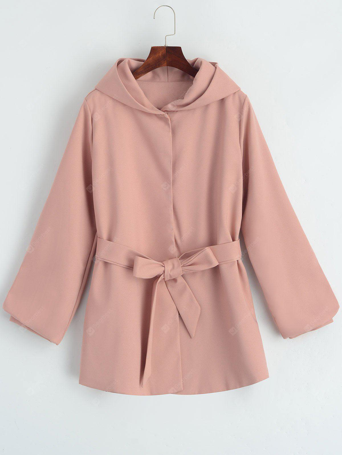 Belted Hooded Snap Button Coat