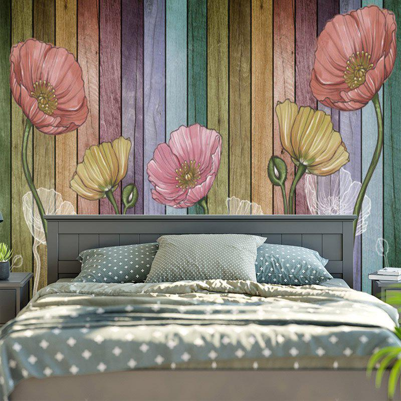 Flower and Wood Board Patterned Wall Hanging
