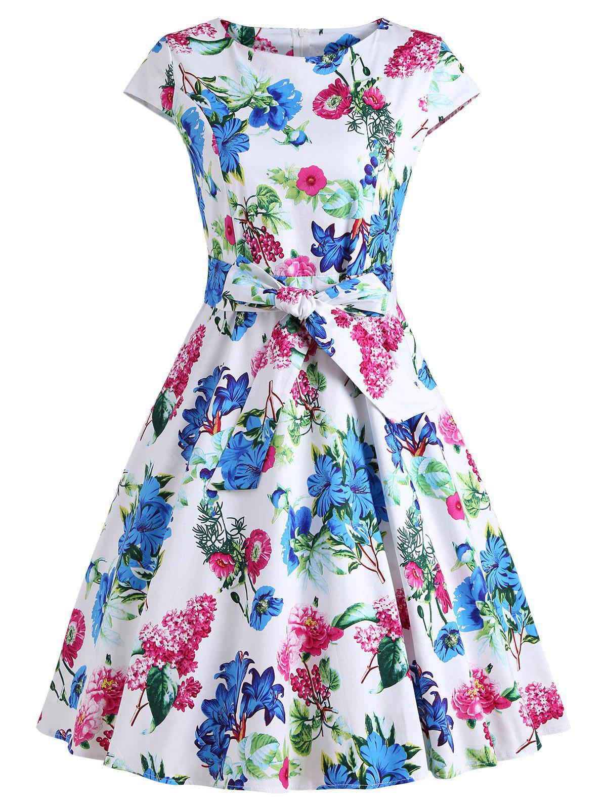 Vintage Floral Printed Fit and Flare Party Dress