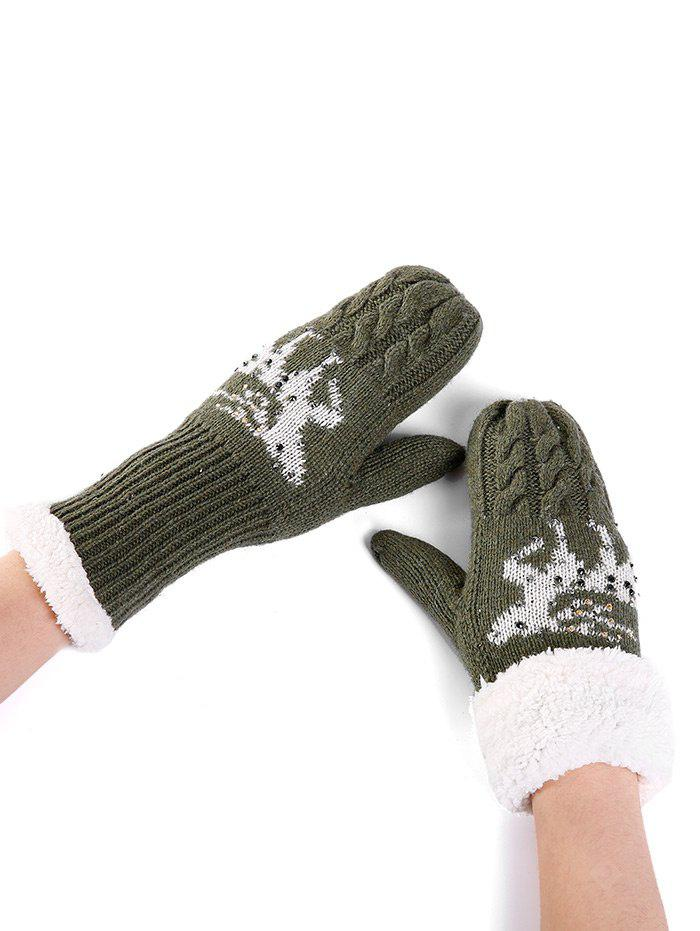 Cute Elk Pattern Embellished Rhinestone Knitted Gloves