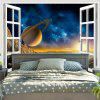 3D Planet Window Scenery Printed Wall Hanging Tapestry - COLORMIX